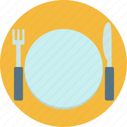 cutlery, dinner, food, fork, knife, plate, table icon