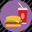 burger, drink, fast food, fizzy, food, hamburger, soft drink