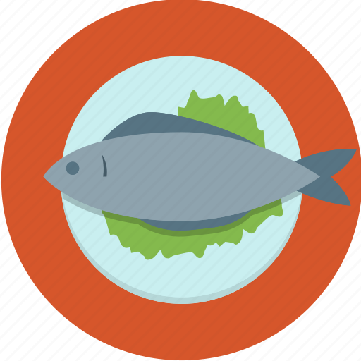 dinner, fish, food, lettuce, plate icon