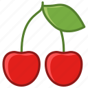 cherries, cherry, fruit, garden, leaf, vitamins, yumminky icon