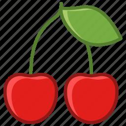 cherries, cherry, fruit, garden, leaf, vitamins, yumminky icon