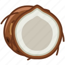 coconut, fit, fruit, palm, paradise, tropical, yumminky icon