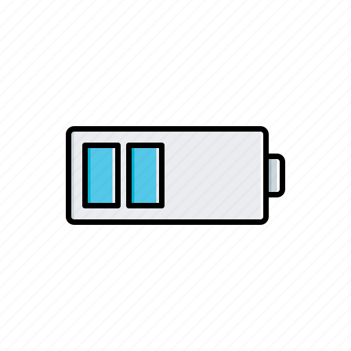 battery, half, multimedia icon