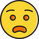 anguished, emoticon, face, smiley icon