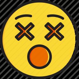 dizzy, emoticon, face, smiley icon