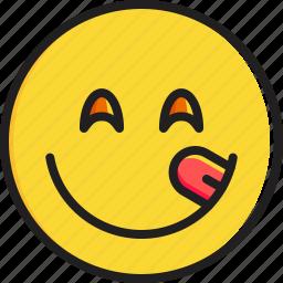 delicious, emoticon, face, food, savouring, smiley icon