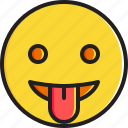 emoticon, face, smiley, stuck, tongue icon