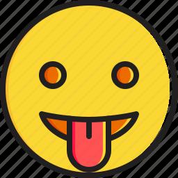 emoticon, face, smiley, stuck, tongue icon