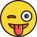 emoticon, face, smiley, stuck, tongue, winking icon