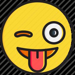 emoticon, face, smiley, stuck, tongue, winking icon