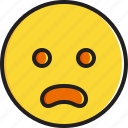 emoticon, face, frowning, mouth, open, smiley icon