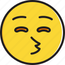 closed, emoticon, eyes, face, kissing, smiley icon