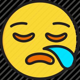 emoticon, face, sleepy, smiley icon