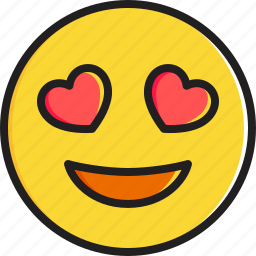 emoticon, eyes, face, heart, shaped, smiley, smiling icon