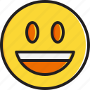 emoticon, face, mouth, open, smiley, smiling icon