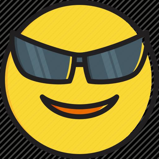 emoticon, face, smiley, smiling, sunglasses icon