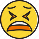 emoticon, face, smiley, tired