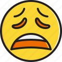 emoticon, face, smiley, weary