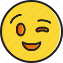 emoticon, face, smiley, winking icon
