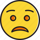 emoticon, face, smiley, worried