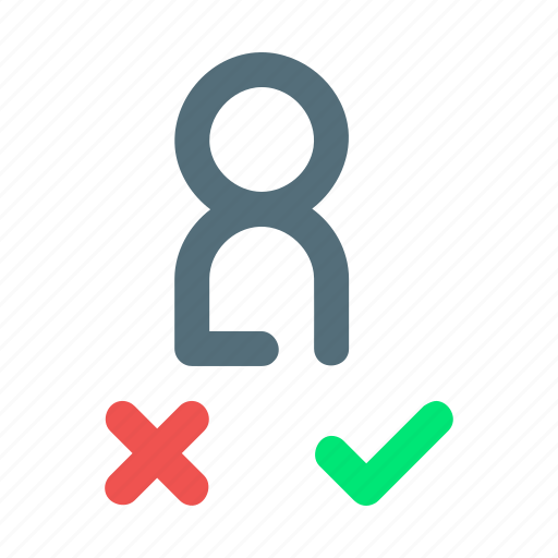 accept, employee, hiring, rejected icon
