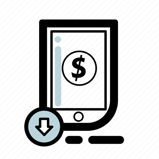 business, finance, money, phone, tablet, transaction icon