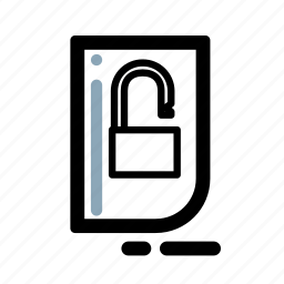 business, document, finance, security, transaction, unlocked icon