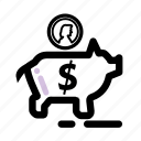 business, coin, finance, money, pig, savings, transaction icon
