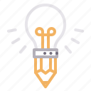 bulb, creative, idea, pencil icon