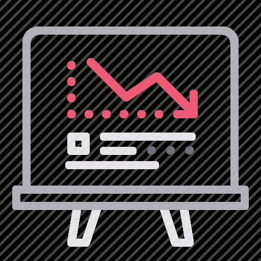 analytics, blackboard, loss, statistics icon