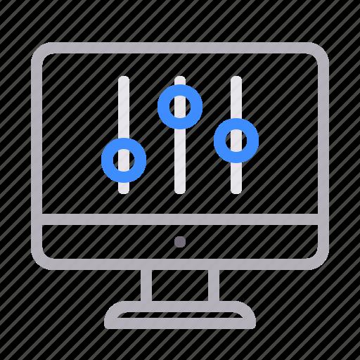 computer, monitor, options, settings icon
