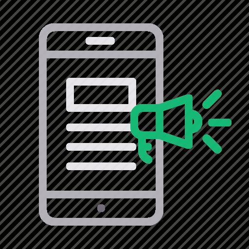 content, megaphone, mobile marketing, relevant icon