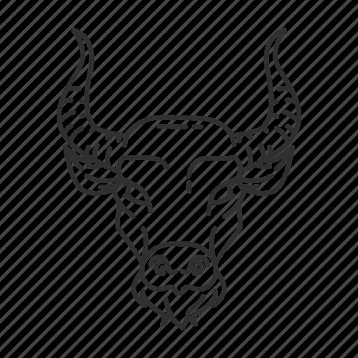 animal, astrological sign, bull, taurus icon