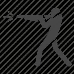 fight, fire, gun, man, shooting, shotgun icon