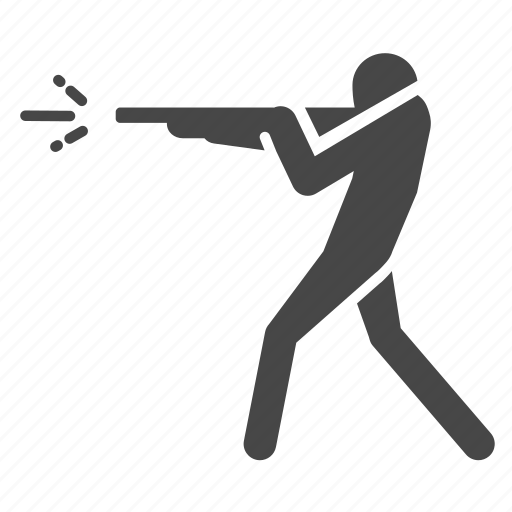 fight, fire, gun, man, shooting, shotgun icon