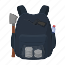 backpack, equipment, tool, weapons, zombies icon