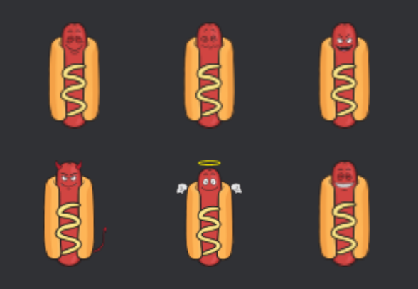 hot dog and mustard cartoon emoji icons by vector toons