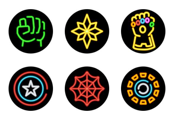Superhero Neon Circle icons by tulpahn