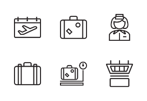 Airlines Iconset With Outline Style