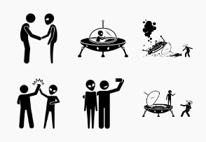 Alien UFO and Human friendship