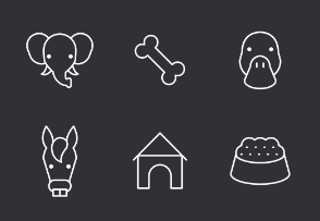 Animal Thinline Icons Set
