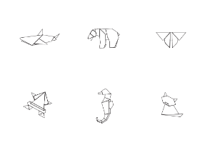 Animals origami white