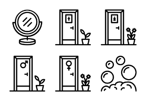 Bathroom Objects Outline Collection