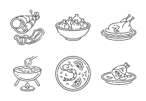 Best national dishes. Linear. Outline