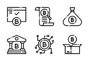 Bitcoin Cryptocurrency LineArt