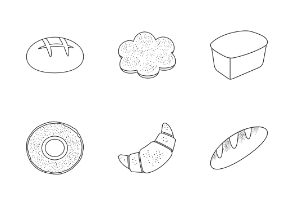 Bread and bakery products in outline style