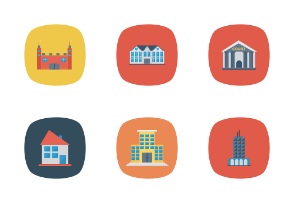 Buildings Flat Square Rounded vol 4