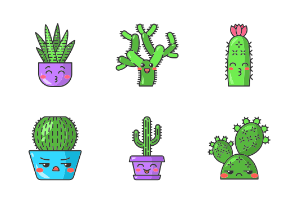 Cactuses kawaii. Color. Filled