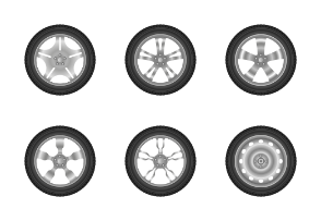Car tyres and wheels realistic