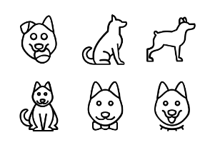 Cats and dogs in different positions in line style